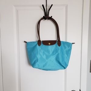 Light Blue Small Nylon Foldable Tote Bag